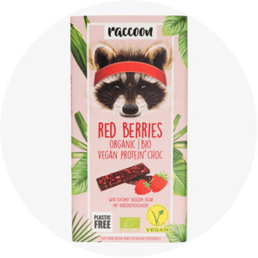 racoon red berries schokolade
